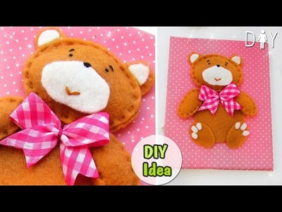DIY NOTEPAD WITH SOFT BEAR. FROM SCRATCH.PRIVATE DIARY