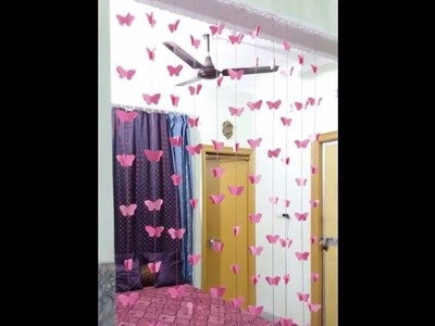 DIY Paper Butterfly Home. Wall. Diwali Decoration : How to make Beautiful paper butterflies  ✔