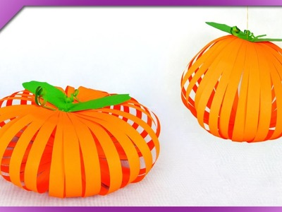 DIY Paper pumpkin, Halloween decoration (ENG Subtitles) - Speed up #269