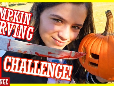 DIY PUMPKIN CARVING CHALLENGE! KIDS WITH KNIVES & BLOOD SLIME!  |  KITTIESMAMA