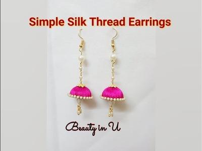 DIY Simple Silk Thread Earrings Tutorial