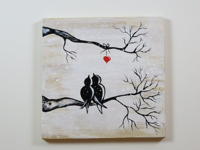 DIY Winter View of Love Birds. How to  Paint on the Wood, Love Birds, Winter View.