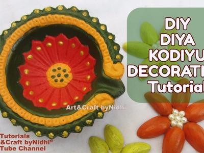 Easy DIY Diya Kodiyu Painting Multicolor Decoration Tutorial for Diwali Festival