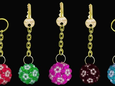 How To Make A Crystal Beaded Keychain || DIY Beaded Soccer Ball Keychains