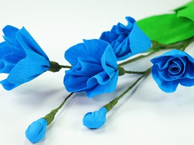 How to Make Crepe Paper Flowers at Home - DIY Blue Poppy Flower Craft