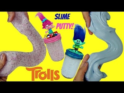 D.I.Y. TROLLS Poppy Branch, Glitter Slime Putty Jar Containers, Do it Yourself Kid Craft. TUYC