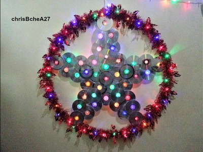 DIY# 49 36 inches Xmas Lantern. Parol from Recycled CD and DVD