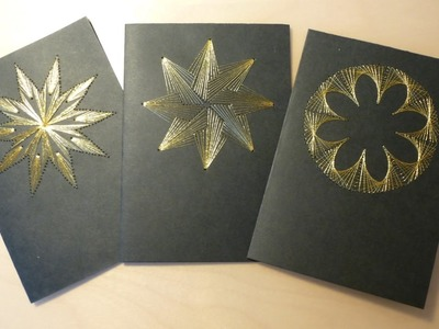 DIY Black & Gold Christmas Card Embroidery