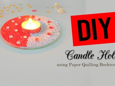DIY CANDLE HOLDER USING PAPER QUILLING BEE HIVE METHOD IN CD| Craftziners # 37|