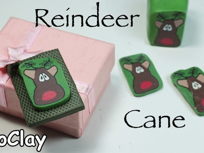 Diy Christmas crafts - Reindeer polymer clay cane tutorial