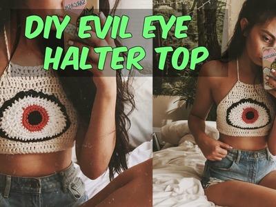 DIY EVIL EYE CROCHET HALTER TOP