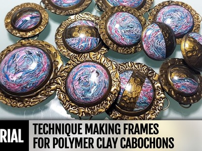 DIY How to decorate polymer clay cabochons with unique frames. Video Tutorial