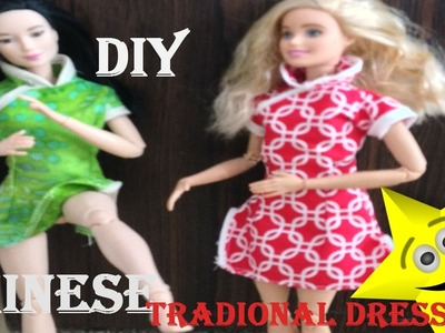 DIY. How to make a Chinese Traditional dress for Barbies.Qi Pao.Cheongsam