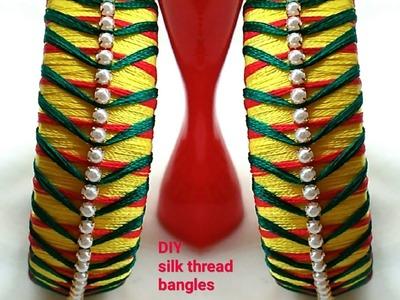 DIY IDEAS|How to make SILK THREAD bangles. !!