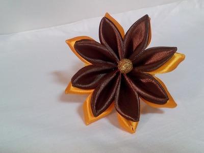 DIY Kanzashi flower,ribbon flower tutorial,how to,easy,kanzashi flores de cinta