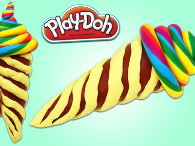 DIY Play Doh Rainbow Swirl Ice Cream! How to Make Play Dough Desserts