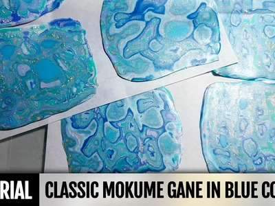 DIY! Video tutorial! Polymer clay technique: Classic Mokume Gane in blue colors!