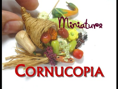 How to make a DIY Dollhouse Miniature Thanksgiving Cornucopia from Polymer Clay and Raffia