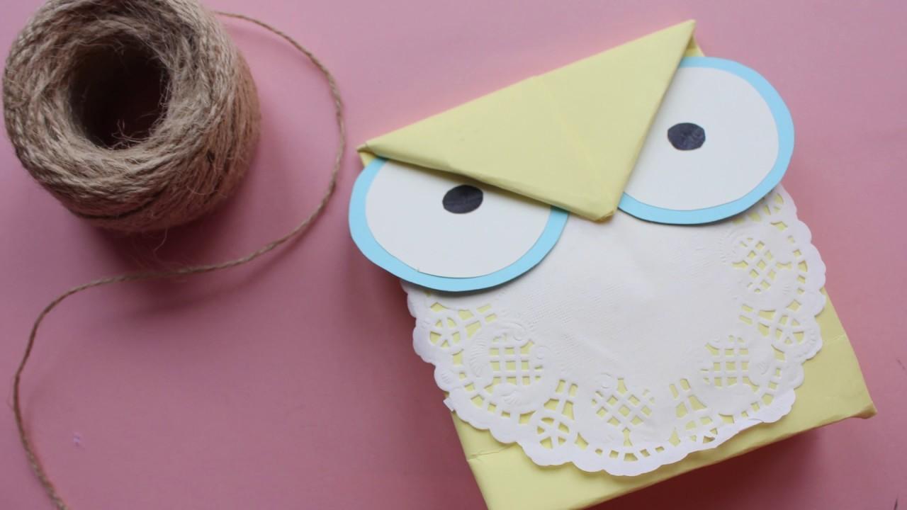 How to make owl paper bag -gift bag- DIY