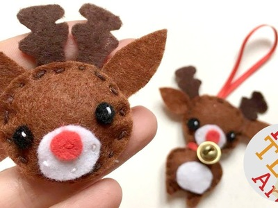 Kawaii Reindeer Badge & Ornament DIY - Christmas Sewing for Beginners - Free Pattern