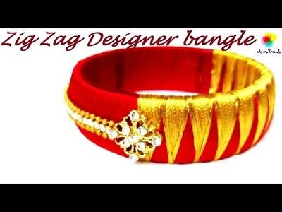 Zig Zag Silk thread designer bangle - Easy DIY Jewel Tutorial