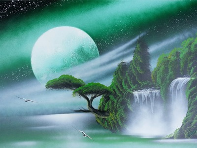 Amazing spray paint art - Dark green sky, trees and waterfall -made by street artist