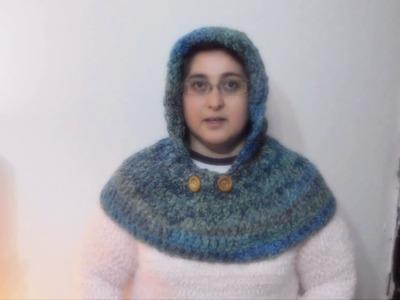 Capucha con cuello a crochet (version ZURDO)