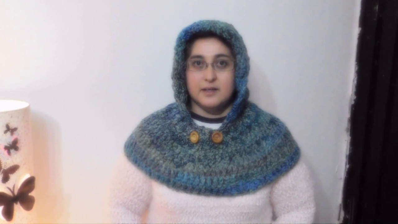 Capucha con cuello a crochet (version ZURDO)