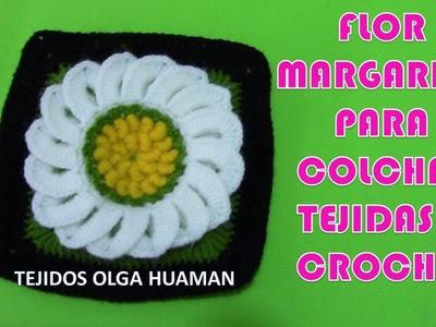 Cuadro a crochet de Flores Margaritas para colchas y cojines