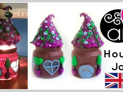 DIY How to make a Fairy House Jar   Polymer Clay Tutorial