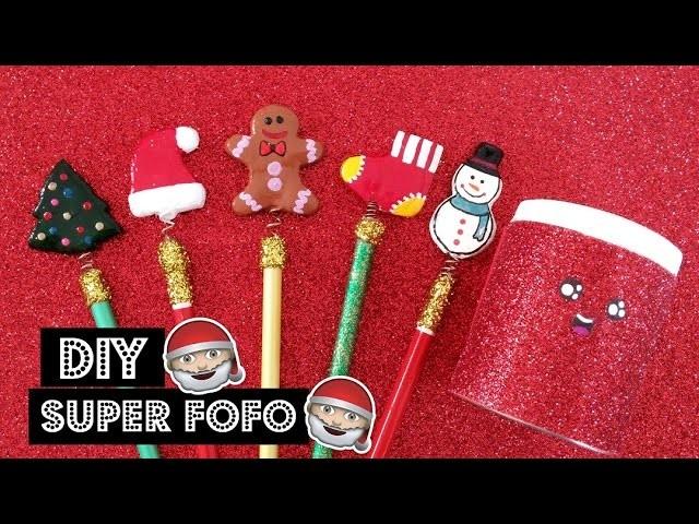 DIY -  MATERIAL ESCOLAR NATALINO SUPER FOFO . DIY - CHRISTMAS SCHOOL SUPPLIES