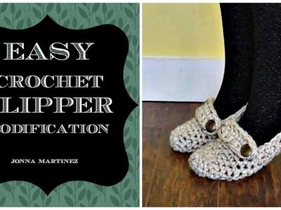 Easy Crochet Slipper Modification