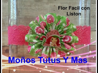 FLOR FACIL CON LISTON Paso a Paso EASY TO MAKE RIBBON FLOWER Step By Step Tutorial DIY How To PAP