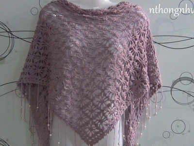 How to crochet triangle scarf - Pattern 1 (engsub)