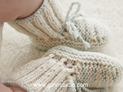 How to knit baby booties in Baby DROPS 25-25