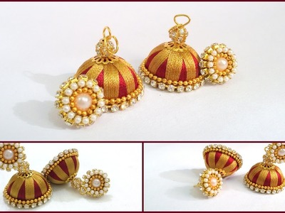 How to make Double Colored  Silk Thread Jhumkas at Home | Tutorials !!