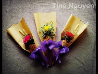 How To Make Flower Bouquet With Single Rose