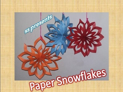 How to make paper Snowflake.christmas decorations. party decoration ideas.christmas tree ornaments