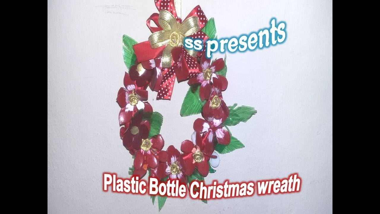 How to Make Plastic Bottle Christmas Wreath.Christmas decorations.Room decor ideas