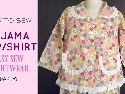How To Sew A Pajama Top || how to make a pajama shirt - EASY SEW NIGHTWEAR