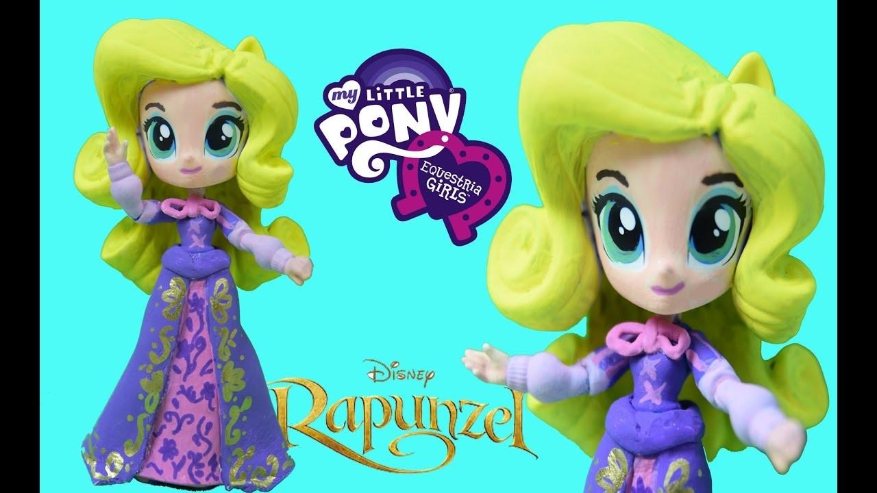 Rapunzel Disney Custom MLP Equestria Girl Rarity Mini Doll DIY How to tutorial
