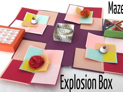 "Tutorial to make ""Super Maze Card Explosion box"" - DIY 