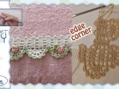 Tutorial Uncinetto ❀ Angolo x Bordino con roselline ❀ [crochet edge corner]