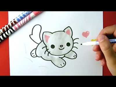 How to Draw a Cute Kitten - Como Dibujar un Gatto Kawaii