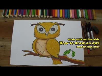 How to draw an owl, for kids, step by step instruction.