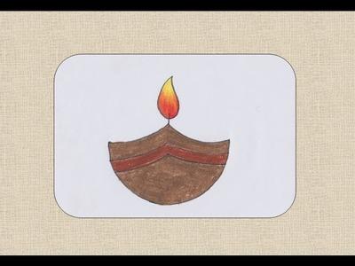 How to draw diwali Diya or earthen lamp for kids