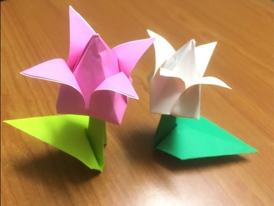 How to fold Origami Tulip flower with stem and leaf Paper
