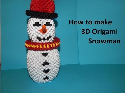 How to make 3d origami Snowman part1(om de zapada 3d origami)