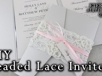 How to make a beaded lace pocket invitation | DIY wedding invitations | lace belly band