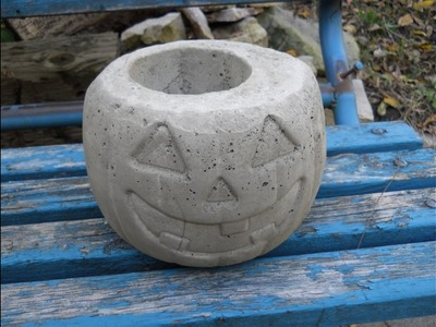 How To Make A Concrete Pumpkin Planter